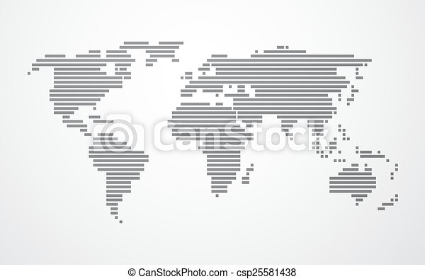 Simple map of the world made up of black stripes on a light simple map of the world vector gumiabroncs Gallery