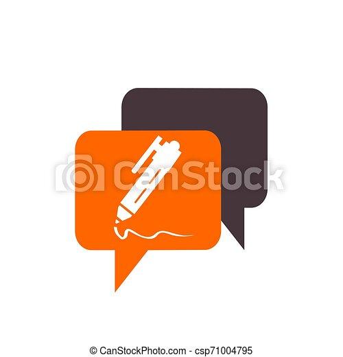 simple memo and pen button application icon and logo vector - csp71004795