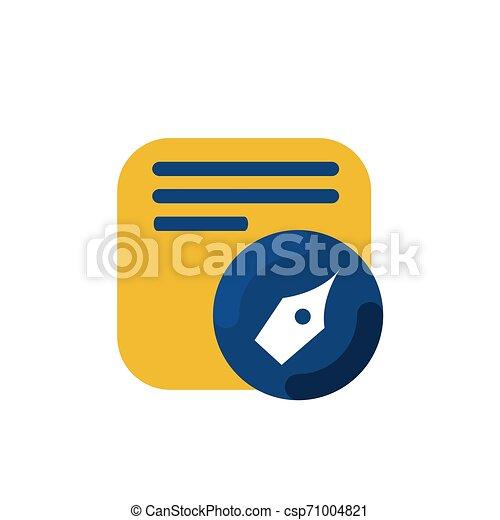 simple memo and pen button application icon and logo vector - csp71004821