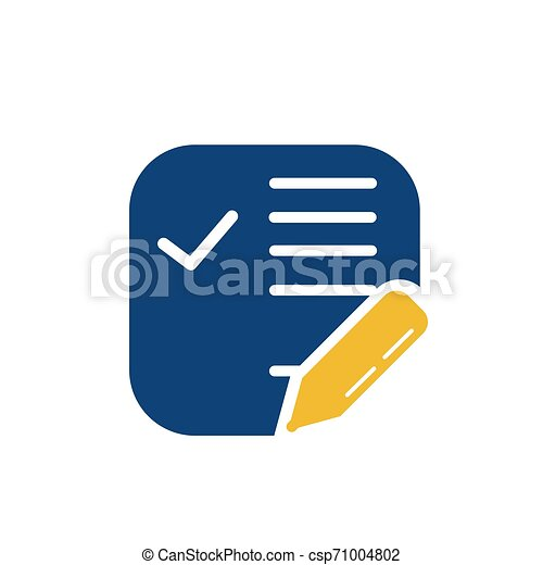simple memo and pen button application icon and logo - csp71004802