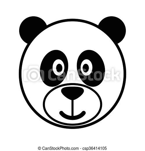 Dessin Panda Facile simple, mignon, dessin animé, panda.