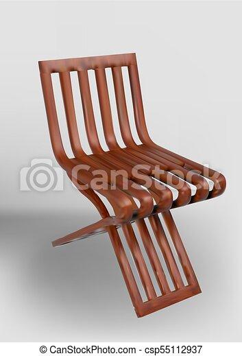 simple, minimaliste, chaise, bois - csp55112937