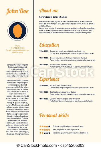 Simple Modern Cv Template Vector Design Vector Clipart  Search