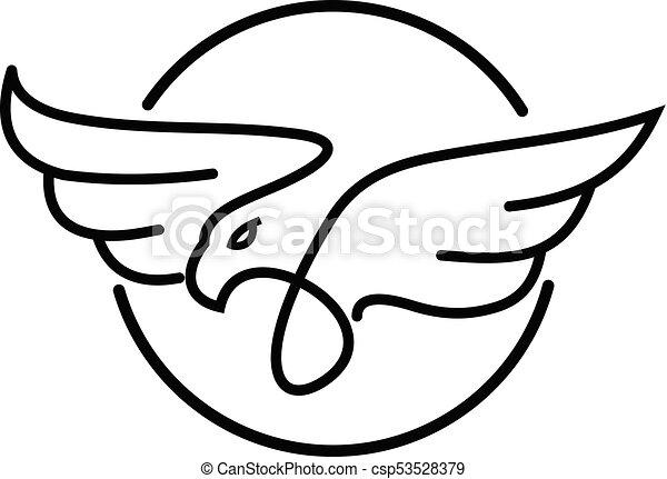 simple modern eagle logo design vector template linear style bird