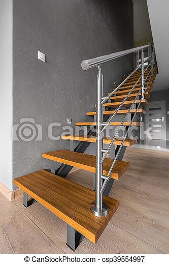 Simple, moderne, regard, escalier. Portes, simple, escalier, gris ...