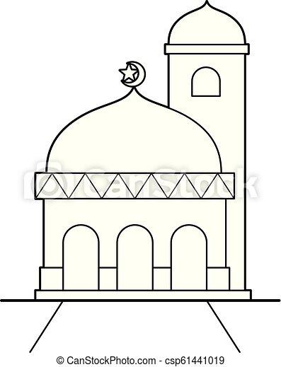 Simple mosque vector cartoon.