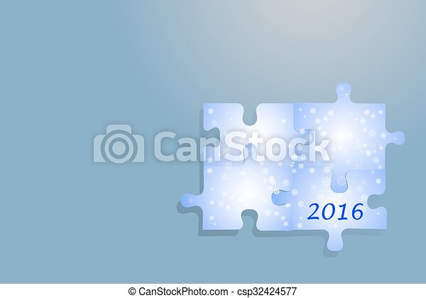 simple new year card of puzzle piec csp32424577