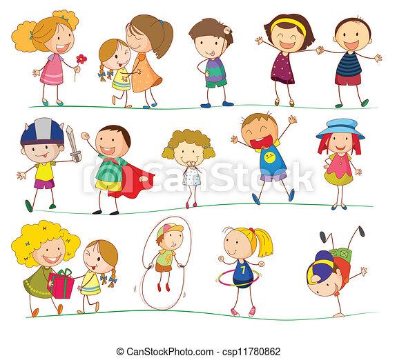 Simple, niños. Simple, blanco, niños, ilustración.