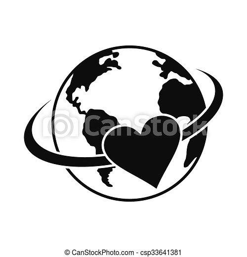 Simple Noir Icône Amour La Terre