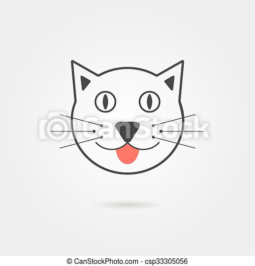 simple, ombre, chat, icône - csp33305056