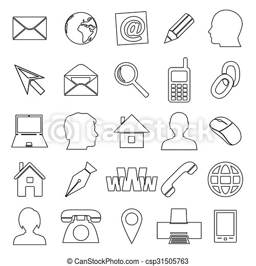 Simple Outline Icons For Business Card And Everyday Use Eps10