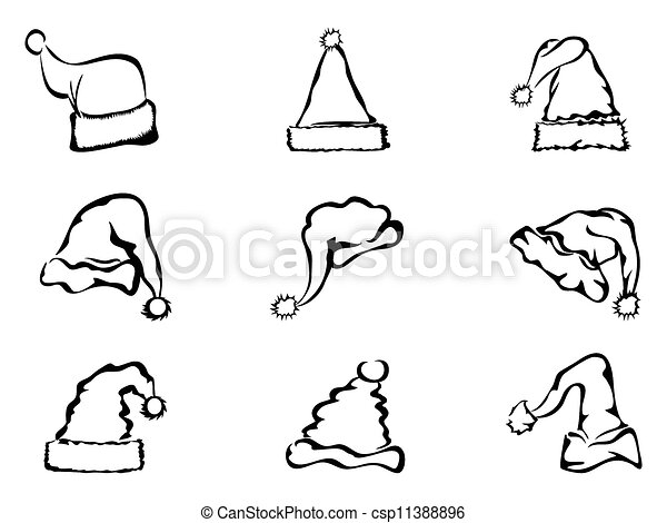 Simple outline of christmas hat. Simple black outline of ...