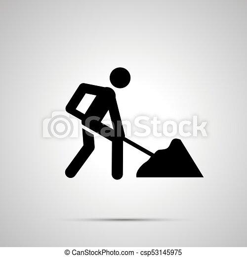 simple, ouvrier, silhouette, noir, route, icône - csp53145975