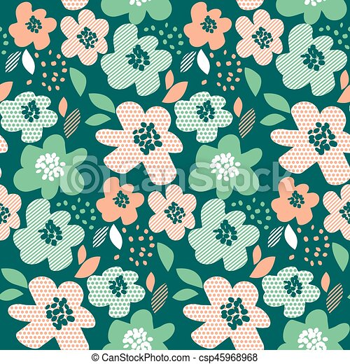 Simple Pale Color Floral Decorative Seamless Pattern In Geometry
