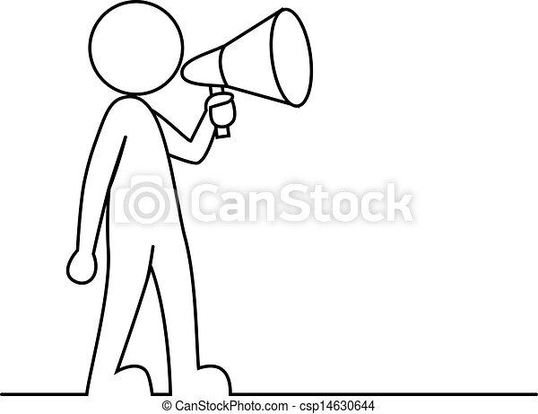 Simple Personne Porte Voix Vecteur Illustration