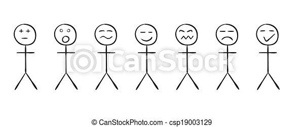 Simple Personnes Différent Ensemble émotions Croquis Simple
