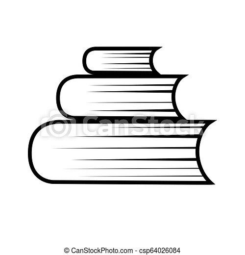 Simple Pile Livre Noir Icon Blanc