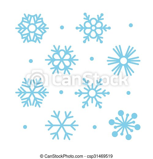 Simple Plat Ensemble Flocons Neige Icone