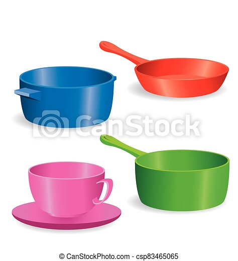 simple Pots and pans vector - csp83465065