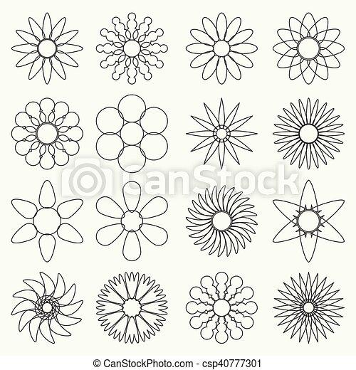 Simple Retro Small Flowers Set Of Outline Symbol Eps10