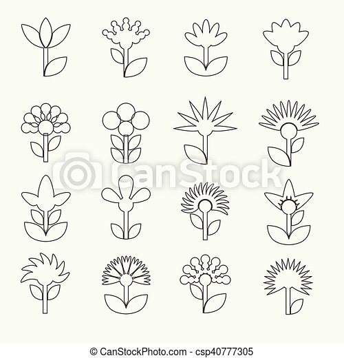 simple retro small flowers set of outline icons eps10 - csp40777305