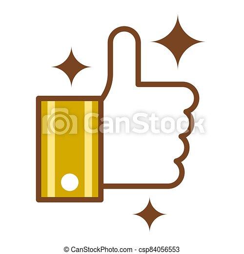 simple, símbolo, minimalista, marrón, oro, vector., diseño, resplandor, como, arriba, plano, color, style., pulgares - csp84056553