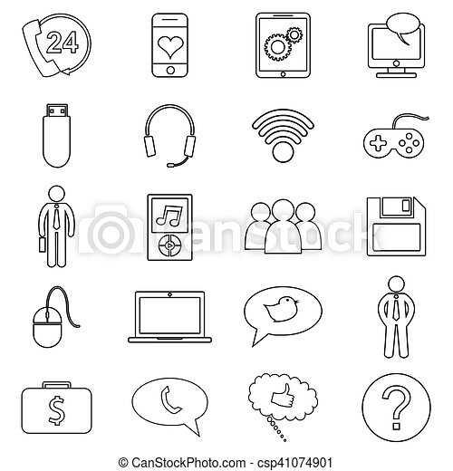 Simple set of customer relationship management. Vector line icons - csp41074901