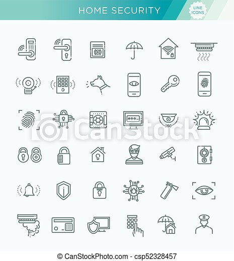 Simple Set of Home Security Related Vector Line Icons - csp52328457