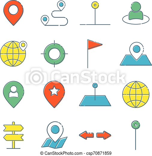 Simple Set of Route Related Vector Line Icons. Contains such Icons as Map with a Pin, Route map, Navigator, Direction and more. - csp70871859