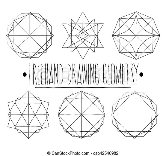 Simple set with black hollow geometric shapes and elements with