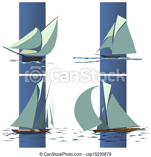 Simple ship with sails. - csp15230879