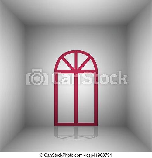 Una ventana simple. icono Bordo con sombra en la habitación. - csp41908734