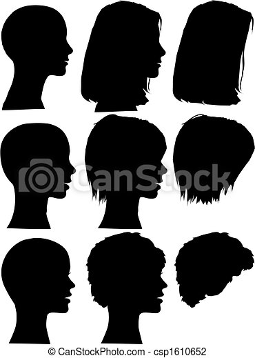 Simple Silhouette People Portraits Heads Faces Set - csp1610652