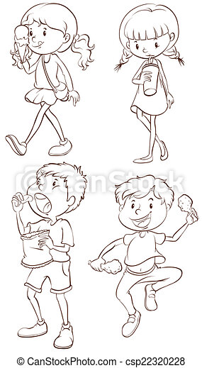 simple sketches of kids taking their snacks csp22320228