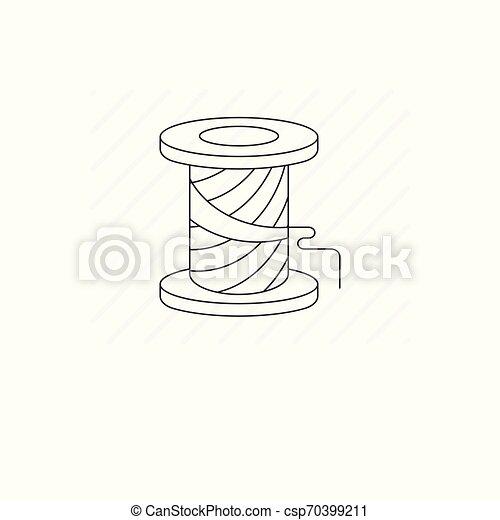 Simple spool of thread vector line icon - csp70399211