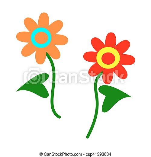 Simple stylis fleurs dessin anim bleu simple - Fleur simple dessin ...