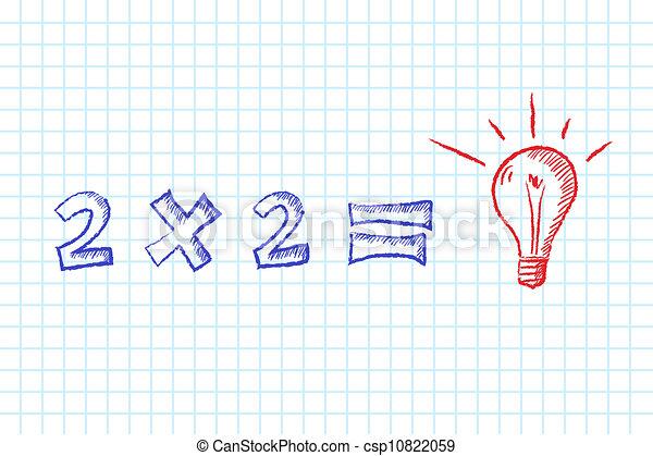 Simple, tâche, solution. Résoudre, idée, main, math ...
