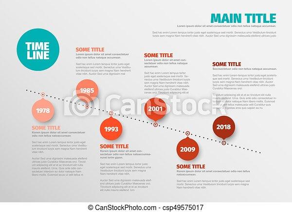 Simple timeline template. Vector minimalist diagonal timeline report ...