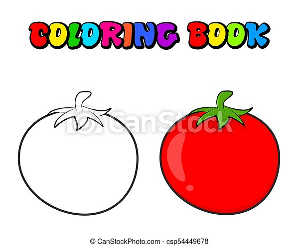 Simple Tomato Outline For Colouring Book Isolated On White Background.  CanStock