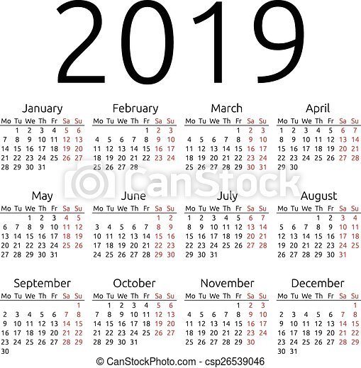 simple vector calendar 2019