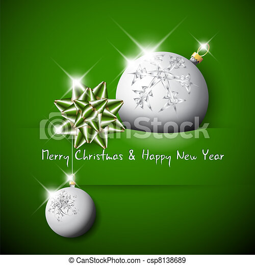 Simple vector green christmas card with bow and bauble  - csp8138689