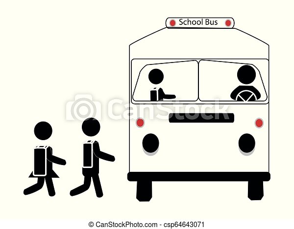 Simple Vector icon of a school bus with students - csp64643071