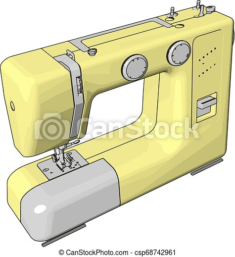 Simple vector illustration of an yellow sewing machine white background - csp68742961