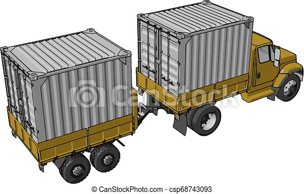 Simple vector illustration of an yellow container truck with trailer white background - csp68743093