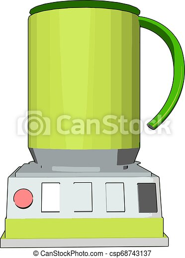 Simple vector illustration of an yellow blender white background - csp68743137