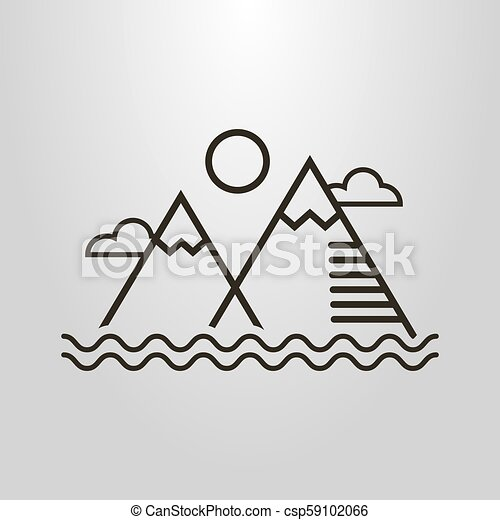 simple vector line art symbol of simple landscape with mountains, water  waves, clouds and sun