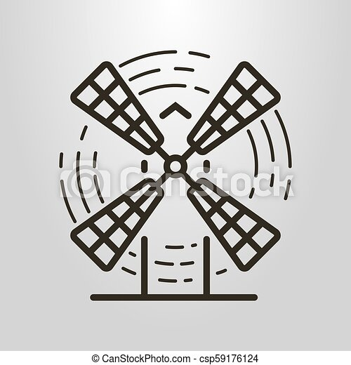 simple vector line art symbol of the windmill - csp59176124