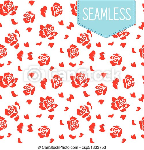 Simple Vector Pattern With Red Flowers