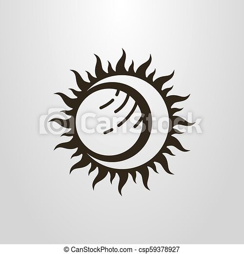 simple vector symbol of the sun moon and planet eclipse