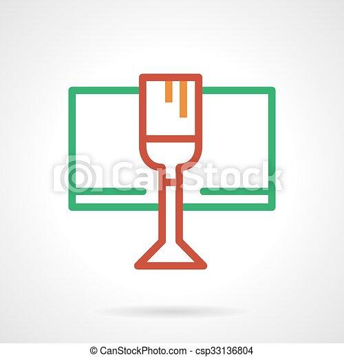 Simple, vidrio, color, vector, línea, vino, rojo, icono. Alcohólico ...